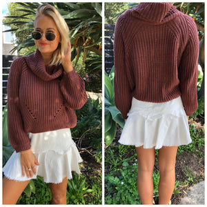 Norway Roll Neck Jumper - Brick
