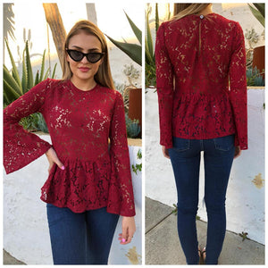 Marcella Lace Top - Berry