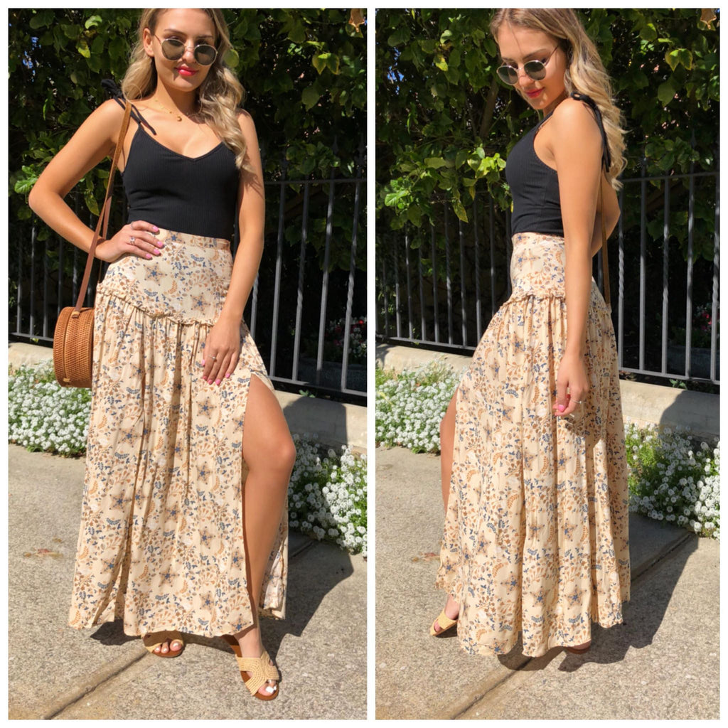Vintage Flower Ruffle Skirt