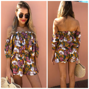 Indiana Playsuit Set - Mustard Floral