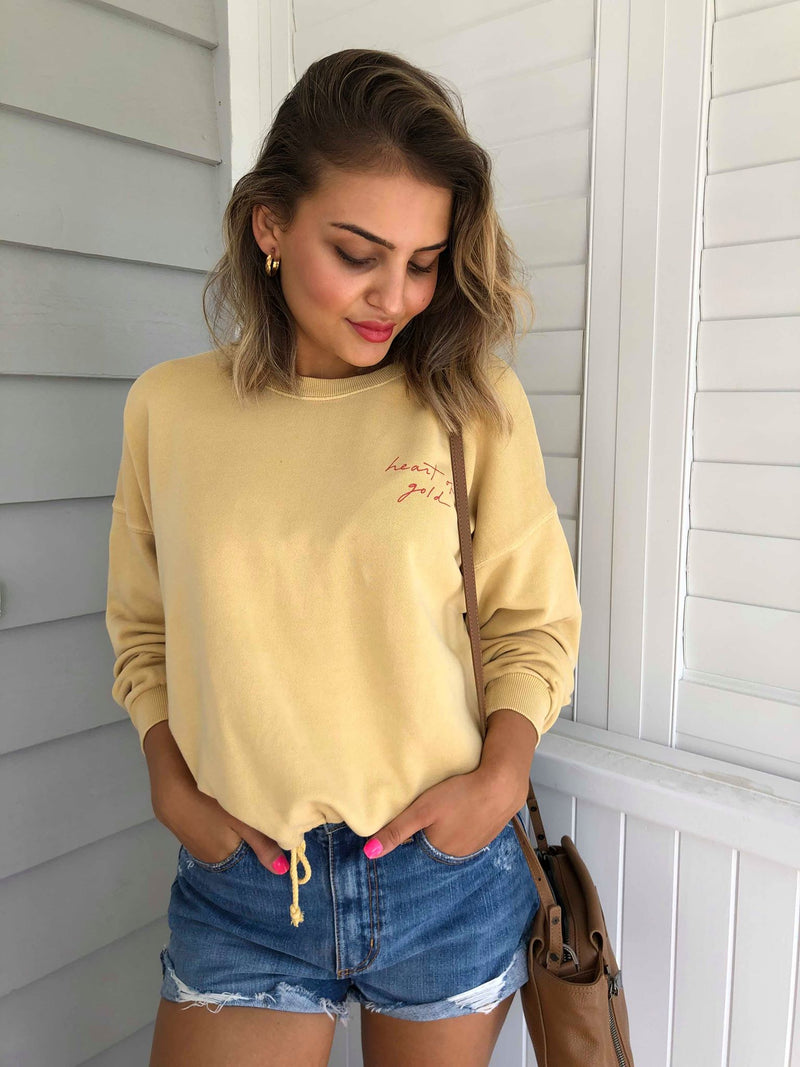STILL WATERS FLEECE PULLOVER - Mustard