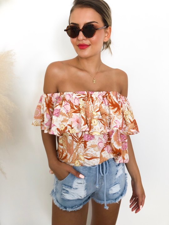 Stilla Off Shoulder - Pink Floral