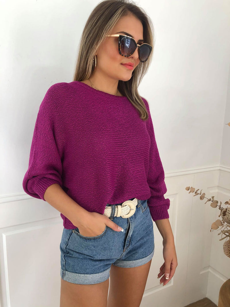 Tape Boat Knit - Berry