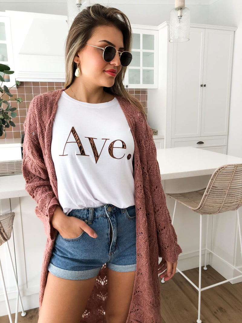 Ave Tee - White Leopard