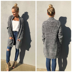 Mandy Cardigan - Black and White Marble