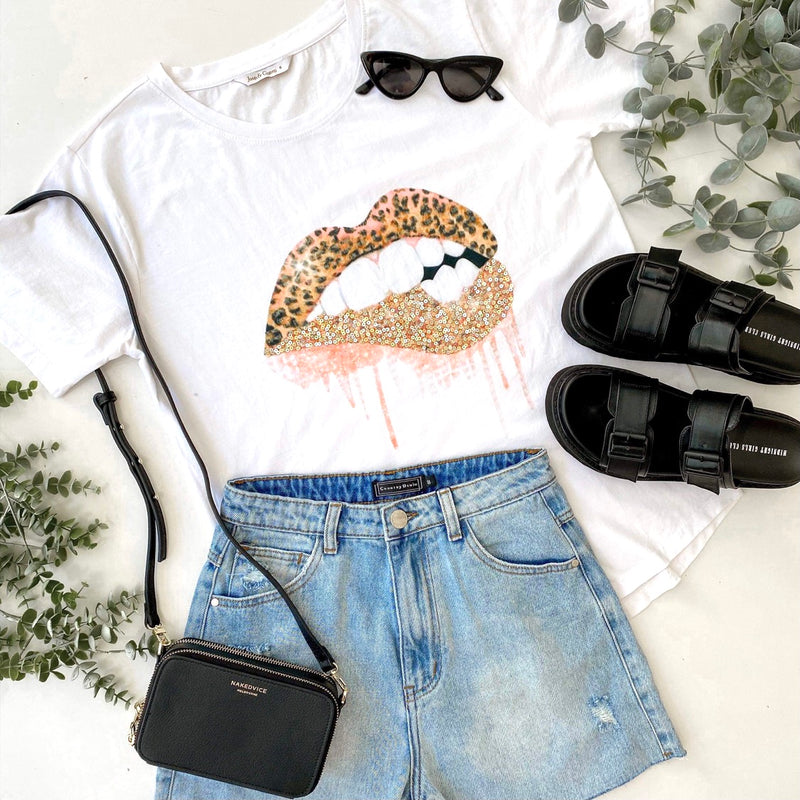 Sequin Bite Lips Tee