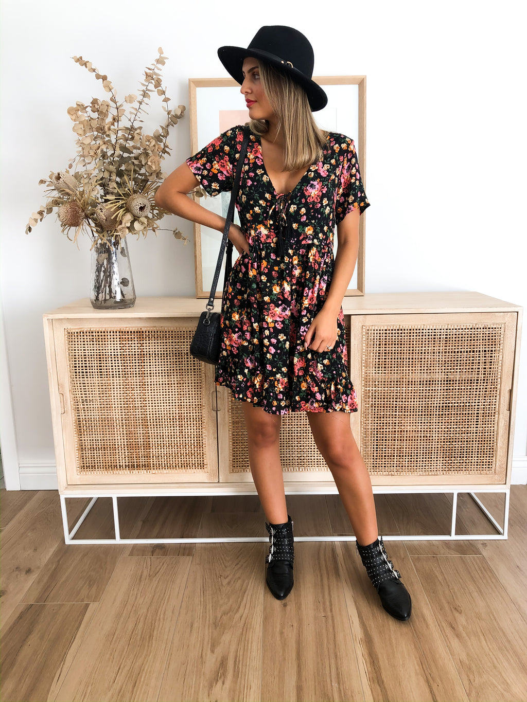 Molly Molly Dress - Black Floral