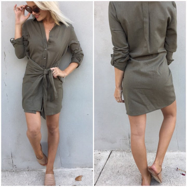 The Amala Linen Wrap Dress- Khaki