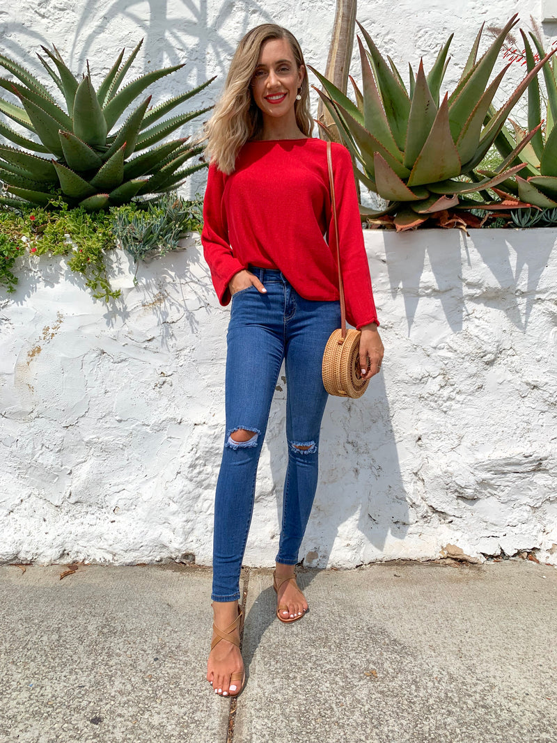 What They Say knit top - Red