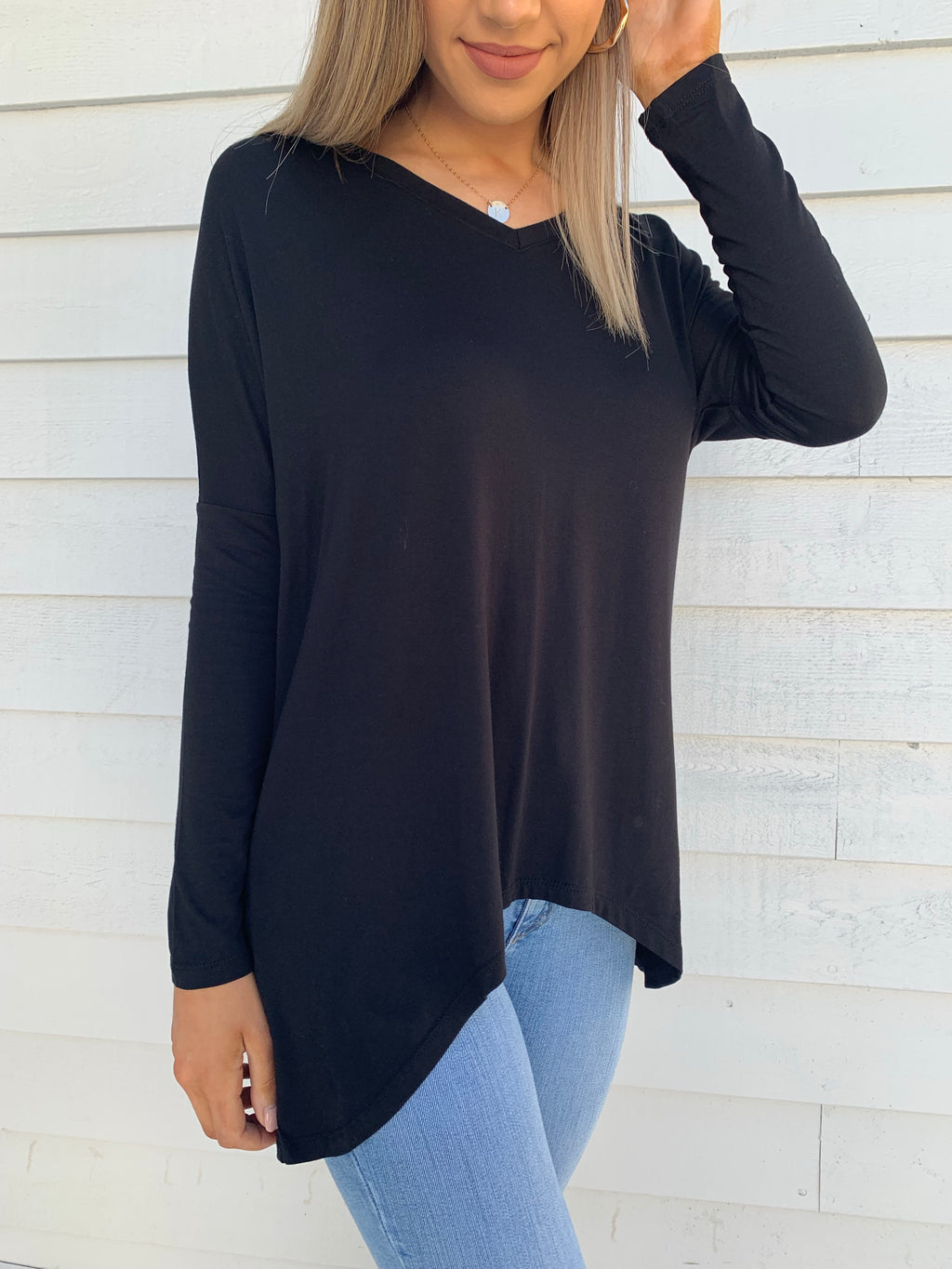 Geneva V-Neck Top - Black