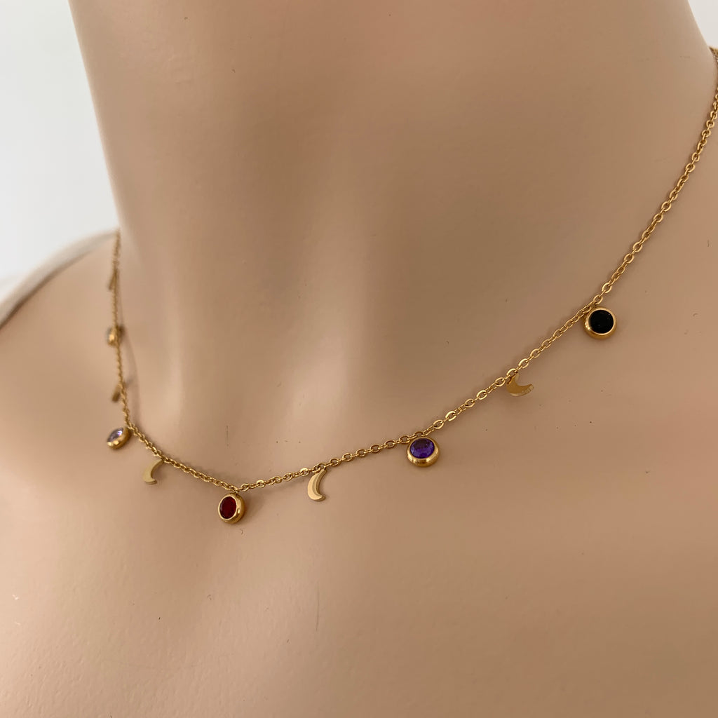 Gems & Moon Charmer Necklace