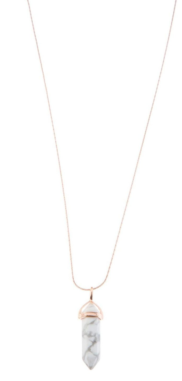 Marble Pendant Necklace - Rose Gold