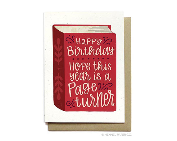Hennel Paper Co. - Page Turner - Bookworm Birthday Card - Aubergine