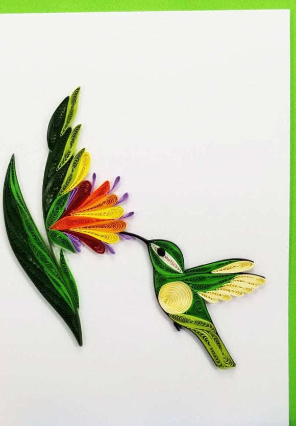 Female Hummingbird Card - Iconic Quilling