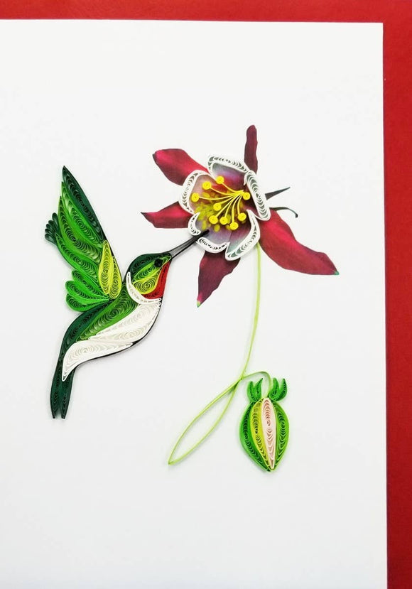 Male Hummingbird Card - Iconic Quilling