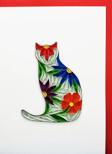 Flower Cat Card - Iconic Quilling