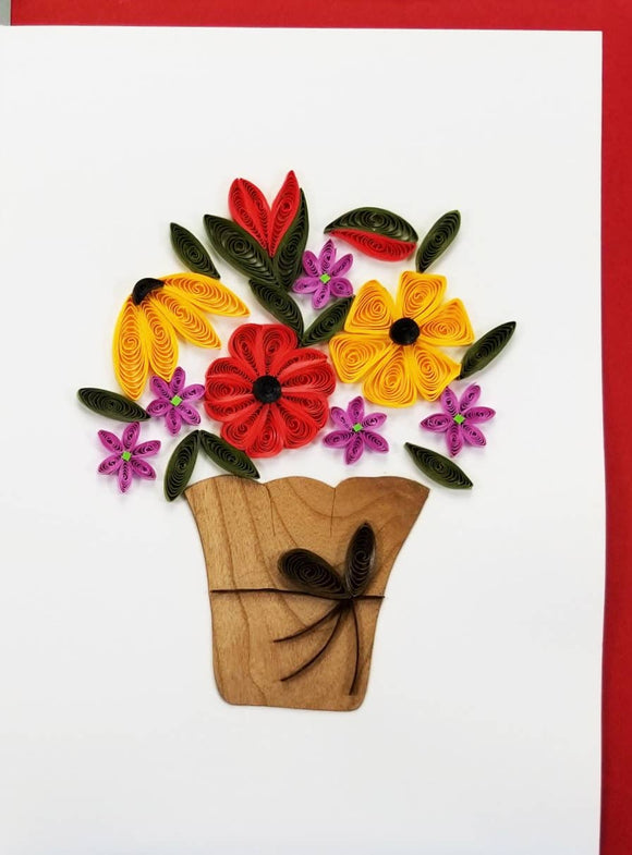 Red Flower Basket Card - Iconic Quilling