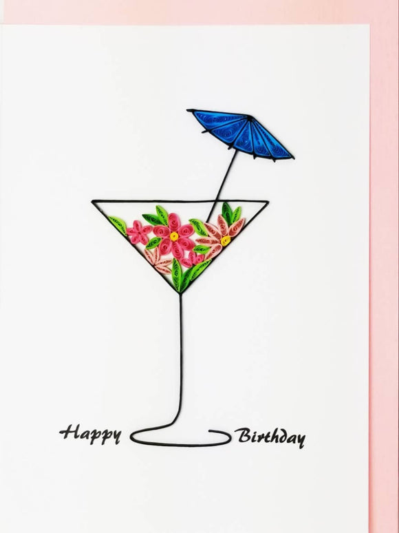 Happy Birthday Martini Glass - Iconic Quilling