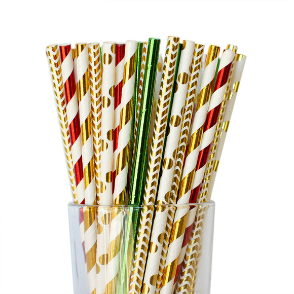 Twigs and Twirls - Holly Paper Straws 25/pk