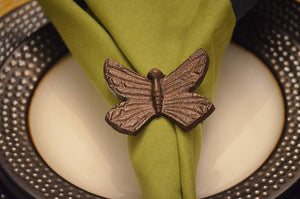 Vibhsa - Copper Butterfly Napkin Rings - Set of 4