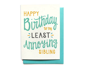 Hennel Paper Co. - Happy Birthday To My Least Annoying Sibling Card - Aubergine