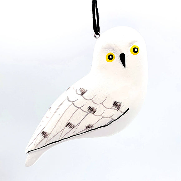 Snowy Owl Balsa Ornament - Women of the Cloud Forest