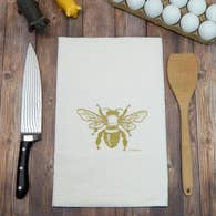 Gold  Honey Bee Flour Sack Tea Towel - Green Bee Tea Towels