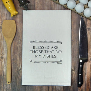 Blessed are those that do my dishes Tea Towel - Green Bee Tea Towels
