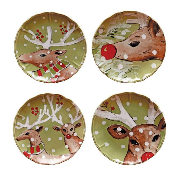 Green Dessert Plates set of 4 - Deer Friends
