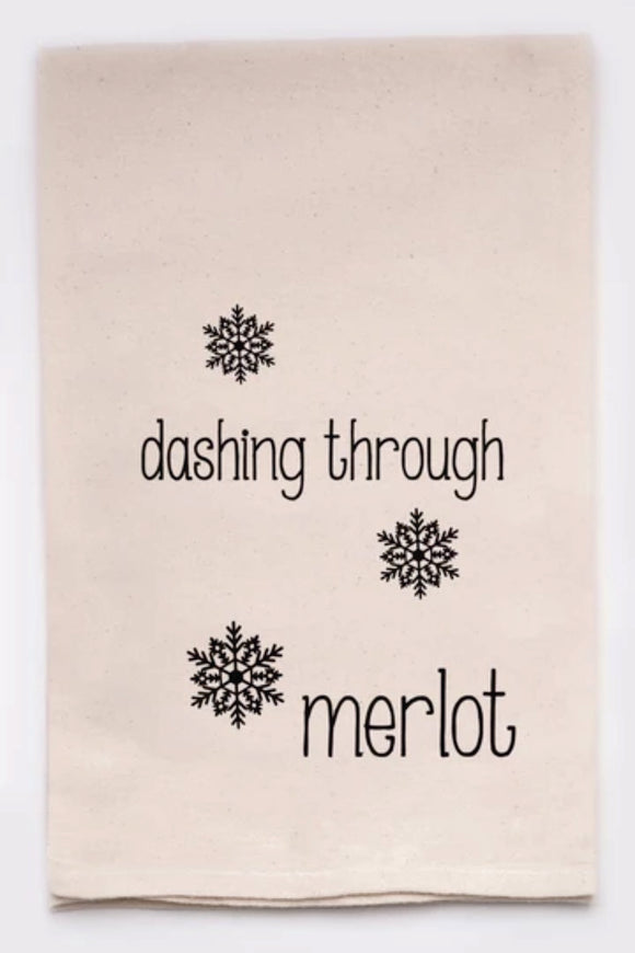 Dashing Through Merlot - Tea Towel