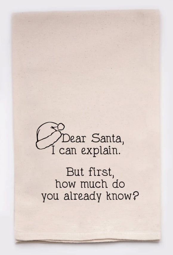 Santa I Can Explain - Tea Towel