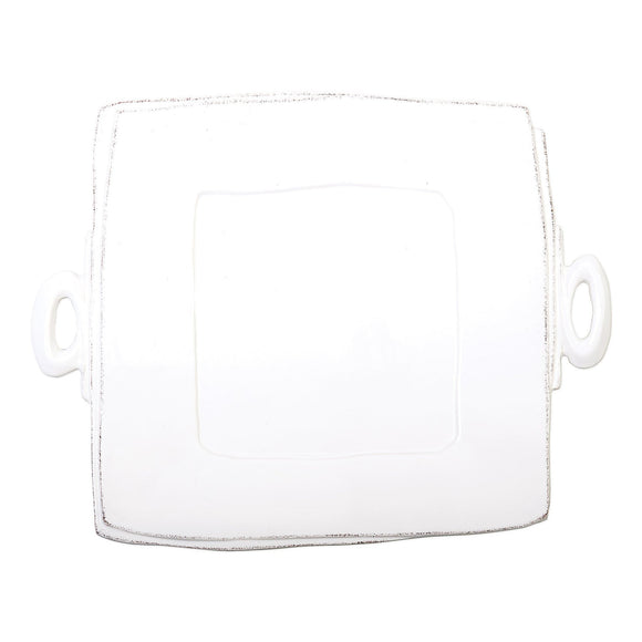 Lastra White Handled Square Platter