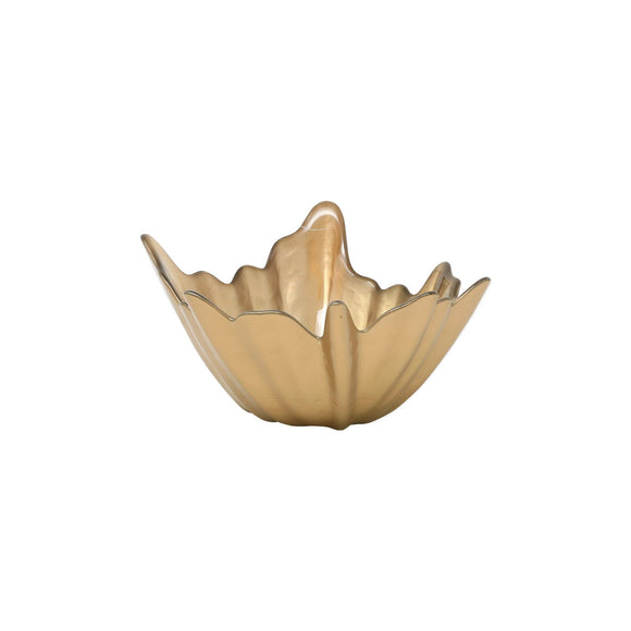 Bronze Small Bowl - Leaf Glass