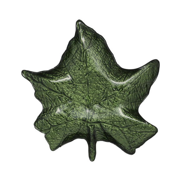 Green Maple Leaf Plate - Leaf Glass