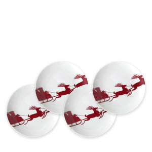 Canapes Set of 4 - Sleigh Red