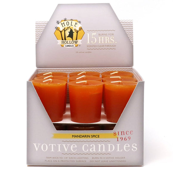 Mandarin Spice Scented Votive Candles  - Mole Hollow Candles