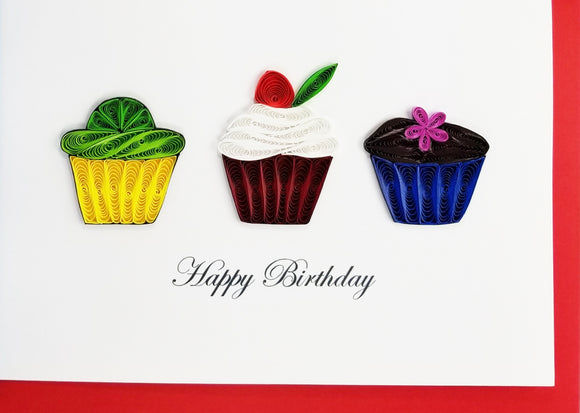 Iconic Quilling - 3 Cupcakes Happy Birthday Card - Aubergine