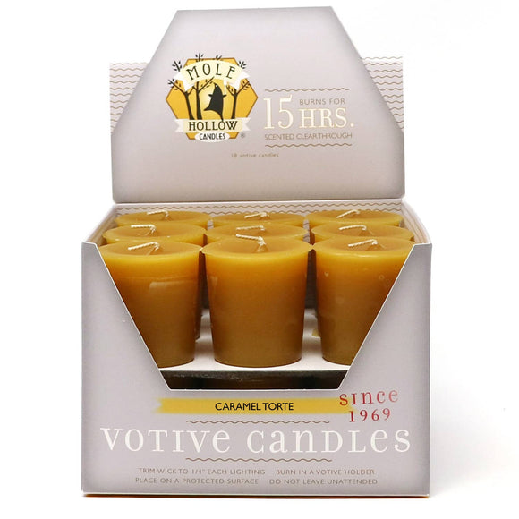 Caramel Torte Scented Votive Candles - Mole Hollow Candles