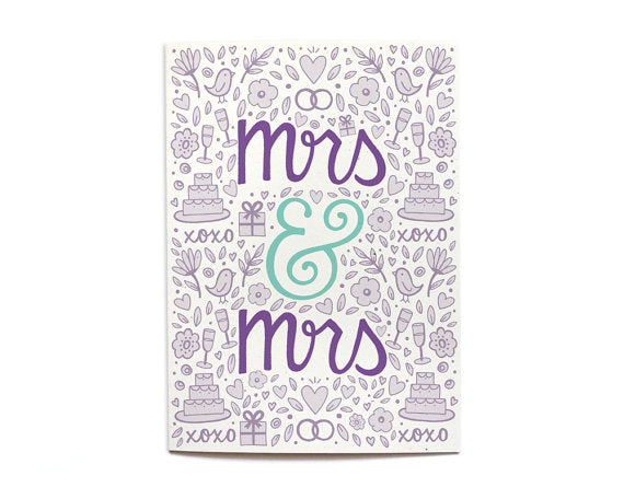Hennel Paper Co. - Mrs & Mrs - Wedding Card - Aubergine