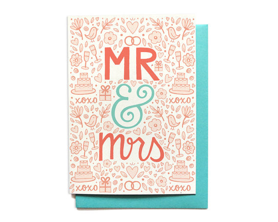 Hennel Paper Co. - Mr & Mrs - Wedding Congratulations Card - Aubergine