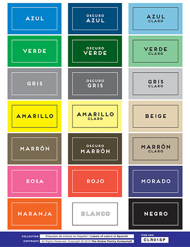 COLORS in Spanish labels (CLR01SP)