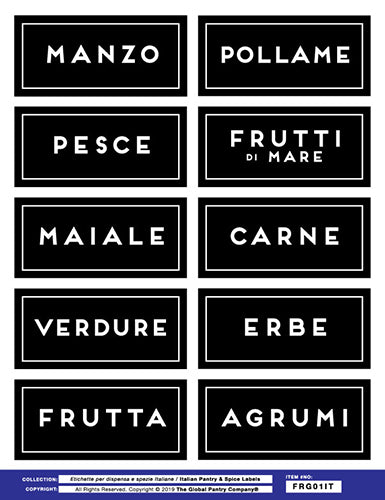 ITALIAN : Fridge Labels