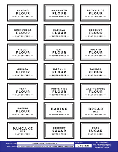 GLUTEN FREE : Pantry Labels - Sheet 1