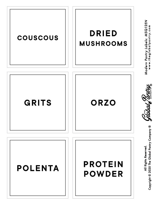 CLEAR square pantry label - 12