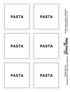 CLEAR square pantry label - Pasta