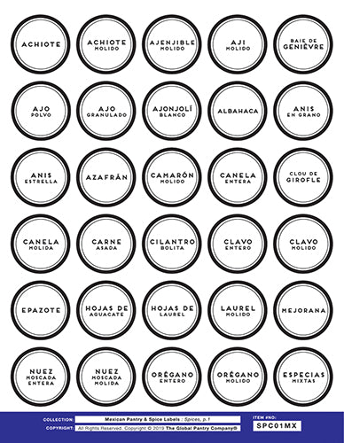 MEXICAN spice labels - Sheet 1