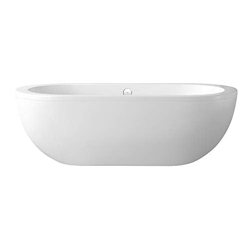 Ove Decors Serenity 71-Inch Freestanding Acrylic Bathtub, Glossy White