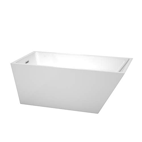 Wyndham Collection Hannah 59 inch Freestanding Bathtub for Bathroom in White with Polished Chrome Drain and Overflow Trim