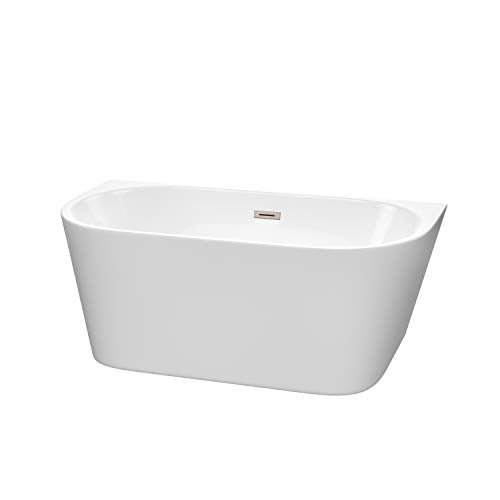 Callie 59 Inch Freestanding Bathtub in White with Brushed Nickel Drain and Overflow Trim