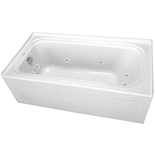 "PROFLO PFW6042ALSKWH 60"" x 42"" Alcove 8 Jet Whirlpool Bath Tub with Skirt, Left Hand Drain and Right Hand Pump"